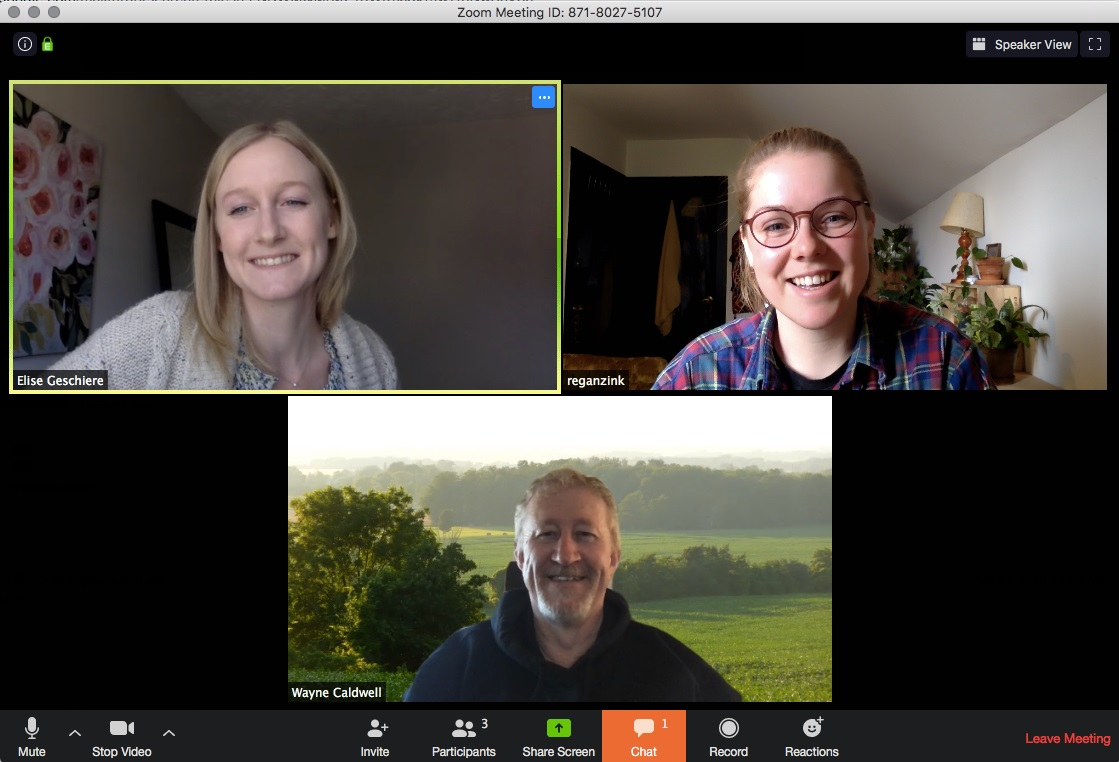 Screen capture of three people Videoconferencing