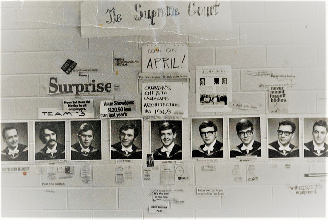 "Old photo of wall showing posters of students from the late 1960s with sign that says ""The Supreme Court"""